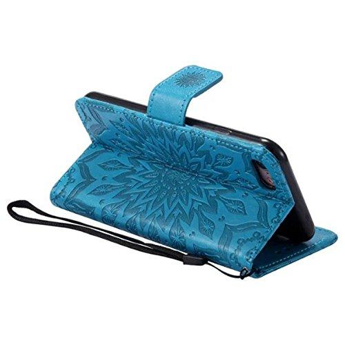 iPhone 7 Étui en cuir, Lifetrut [Tournesol gaufré] Portefeuille en cuir Flip Folio Design Flip Coque Couverture pour iPhone 7 [Marron] E201-Bleu