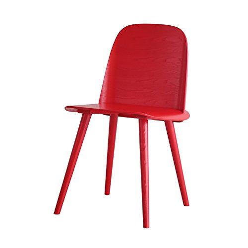 ZJM- Küchenstuhl Holz Esszimmerstuhl Café Lounge Sessel (Farbe : Red, größe : Set of 4)