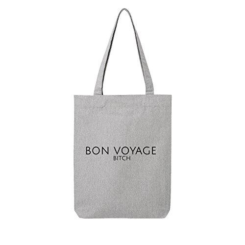 Bon Shopper (Bon voyage Bag Frauen Shopper grau Jute Beutel Handtasche Strand Sommer faltbar klein bedruckt Motiv Print (393-U760-Grau))