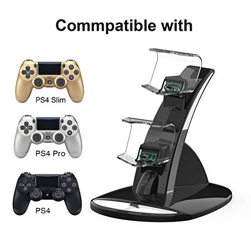 DOMAS PS4 Controller Ladegerät kompatibel mit Sony Playstation 4 / PS4 Pro / PS4 Slim Controller Ladestation Ladestation Standfuß Dual USB Schnellladestation von DOMAS