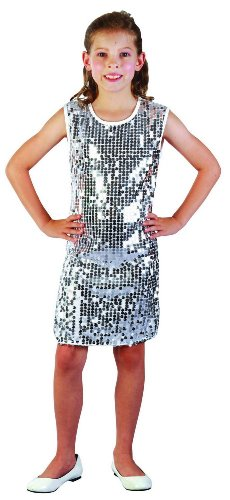 Silver glitter disco costume for girls. Ages 4 to 12 Years.