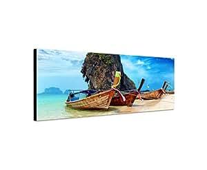Quadro stampa su tela come Panorama in 150x 50cm Thailand roccia spiaggia mare barche cielo