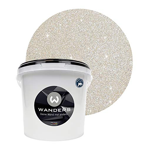 Wanders24® Glimmer-Optik (3 Liter, Silber-Sand) Glitzer Wandfarbe - Wandfarbe Glitzer - abwaschbare Wandfarbe - Glitzerfarbe - Made in Germany