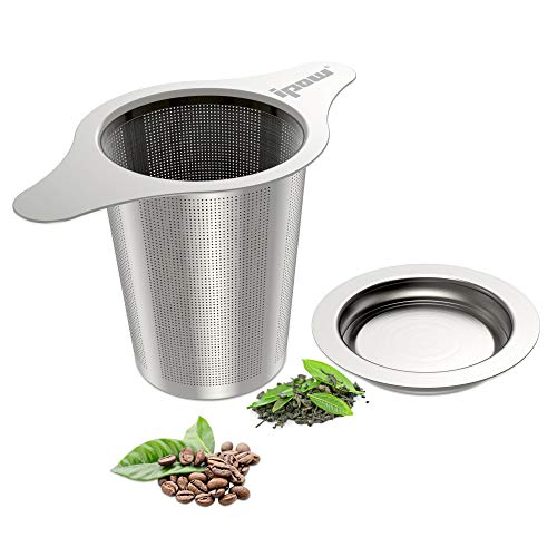 ipow feinmaschig Teesieb Teefilter aus 304 rostfreiem Edelstahl Kaffee Filter, mit Deckel und Zwei...