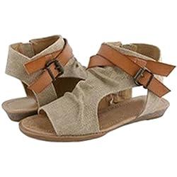 Mujer Sandalias Zapatos Peep Toe Romano Sandalias Plano Verano Fiesta Al Aire Libre Sandalias Caqui 40 Highdas