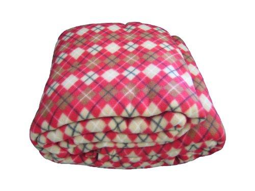 Dada Betten bl71300Checkered Polar Fleece Decke, braun und rot, Polyester-Mischgewebe, Red and Brown, Twin - Roten Bett Ensemble