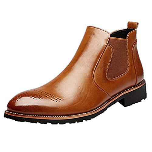 Stiefel Herren Chelsea Boots Leder Retro Business Stiefelette Klassische Brogues Elegant Schuhe...