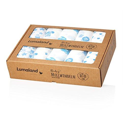 Lumaland Baby Mullwindeln Spucktücher 10er Set ca. 80 x 80 cm 100% Baumwolle weich schadstofffrei blaue Motive