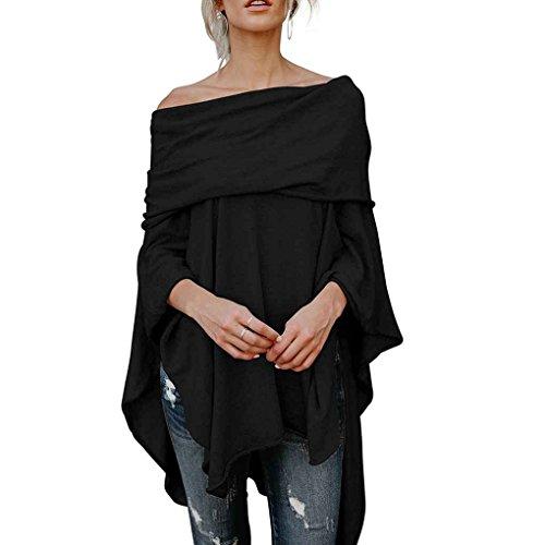 Provide The Best Frauen-beiläufige Schulterfrei Handkerchief unregelmäßiges Rand-Seiten-Schlitz Hoch Tief Tunika Hemd Tops - Seite Rand