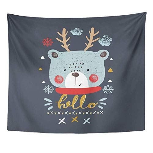 AOCCK Wandteppiche Wall Hanging Christmas Cute Bear Deer Horns Kid's Baby's Design Graphic Tee Drawn Hand Happy 60
