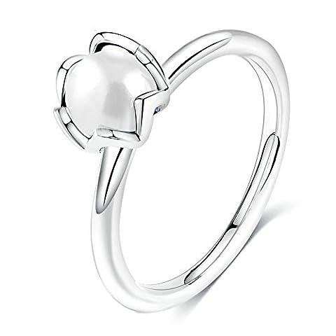 Epinki Ringe Solitärring für Damen Cubic Zirkonia Set Perle Damenringe Weiß Gold Gr.57 (18.1) (Prinzessin Set Manschettenknöpfe)
