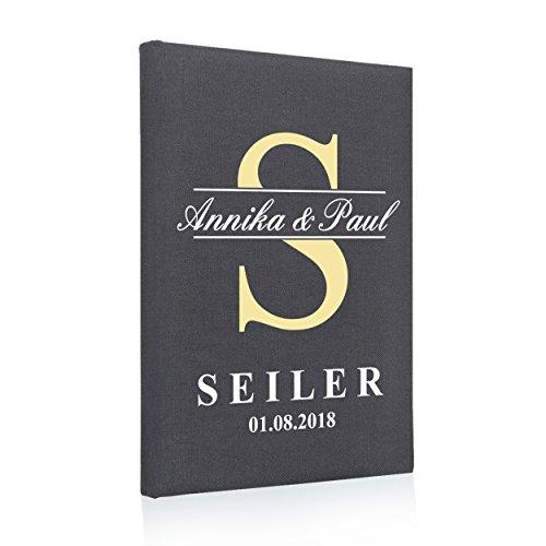 Hochzeitideal Stammbuch der Familie, Familienstammbuch aus Buchbinderleinen, Nr. 79 inkl. Personalisierung (Grau)