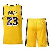 Formesy Uomo Adulto NBA Lebron James #23 LBJ LA Lakers Retro Maglia Basketball e Pantaloncino Ricamata Jersey Basket Maglie Uniforme Top & Shorts 1 Set