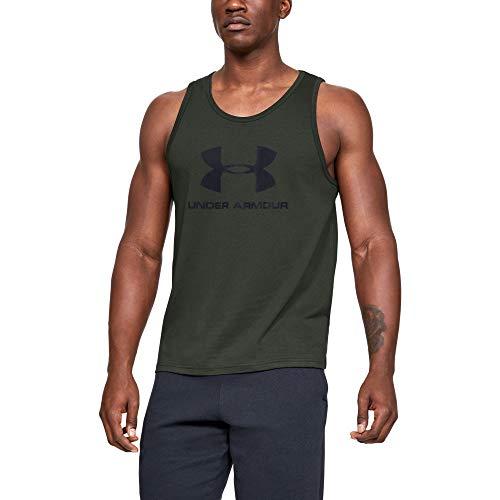 Under Armour Herren sportliches Muskelshirt aus superweichem Stoff, ärmelloses Sportshirt mit Loser Passform Sportstyle Logo Tank, Grün, XL -