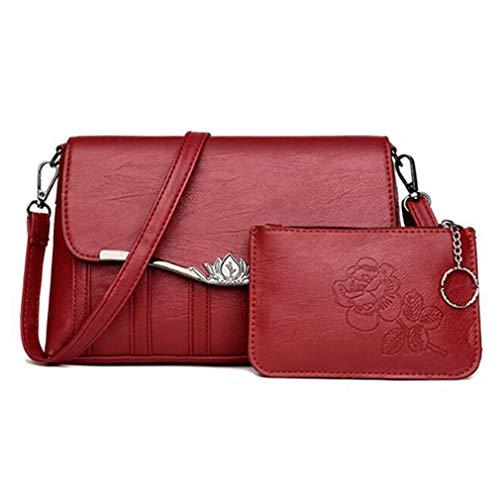 Damen Taschen Set 2 Stück Leder Schultertasche Wine Red 27x6x17cm