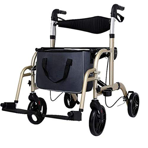 Gtt Walker Rollator/Walker Rollator für ältere Einkäufe/Walker Rollator mit Sitz und Korb Holder Einkaufswagen Rollator zusammenklappbar Trolley Licht Aluminiumlegierung Behinderte Walker mit Pedal