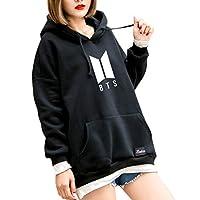 Autone Fashion Hoodies,BTS Hoodie Bangtan Hooded Sweatshirt Hip Hop Patchwork Hoodies with Pocket Small Black