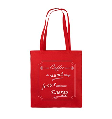 Comedy Bags - Coffee do stupid things faster with more Energy - Jutebeutel - lange Henkel - 38x42cm - Farbe: Schwarz / Weiss-Neongrün Rot / Rosa-Weiss