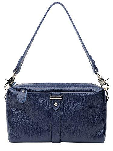 SAIERLONG Neues Damen Schwarz Echtes Leder Schultertaschen Messenger Bag K?nigsblau