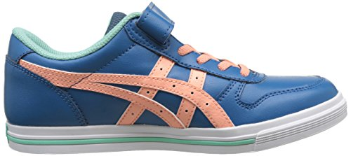 Asics Aaron Ps, Basses Mixte Enfant Bleu (Sea Port/Peach Melba)