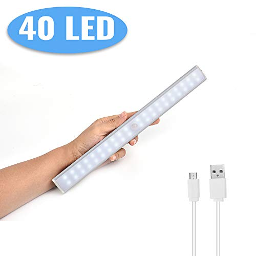 Lacyie Schrankleuchten 40 LEDs Schrankleuchte mit Bewegungsmelder USB Kabellosen Wiederaufladbare 3 Modi Auto On/Off Magnetisch Schranklampe für Garderobe Innen Kaltweiß 1 Stück