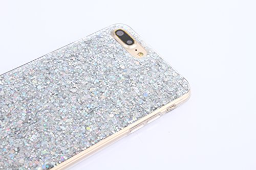 Cover iPhone 8 Plus,Cover iPhone 7 Plus,Custodia iPhone 8 Plus / iPhone 7 Plus Cover,ikasus® Cover custodia iPhone 8 Plus / iPhone 7 Plus Crystal Brillante scintilla Bling lucido glitter strass diaman Argento