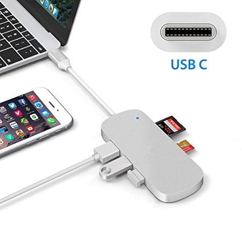 Voberry Typ C USB-C Hub Adapter 3 USB 3.0 Port Kartenleser für MacBook Pro