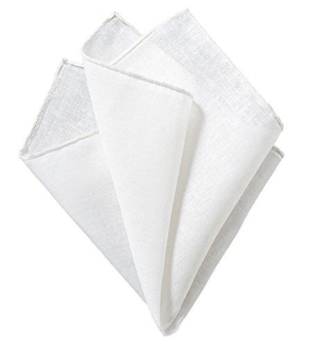 Blackbird Einstecktuch, Handrollierte Einstecktücher, 11 verschiedene Farben, Taschentuch, Pochette, 100% Leinen, Handarbeit (Weiß)