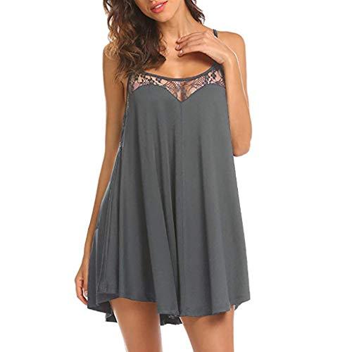 Odjoy-fan donna vestito tinta unita sexy veste abito da pigiama mini vestito elegante camicia notte cerimonia lungo damigella scollo festa party casual semplice pigiami camici vestaglia
