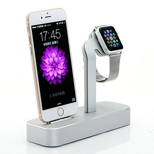 Fogeek Apple Watch iPhone 6S Base de carga 2en 1, soporte - estación cargadora, fabricado con aluminio sólido compatible con Apple Watch 38mm/42mm y iPhone 6S Plus (2015)