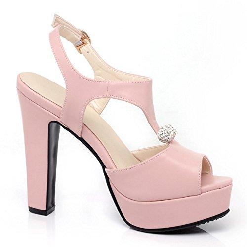 TAOFFEN Femmes Peep Toe Sandales Soiree Mode Plateforme Talons Hauts Slingback Chaussures De Boucle Rose