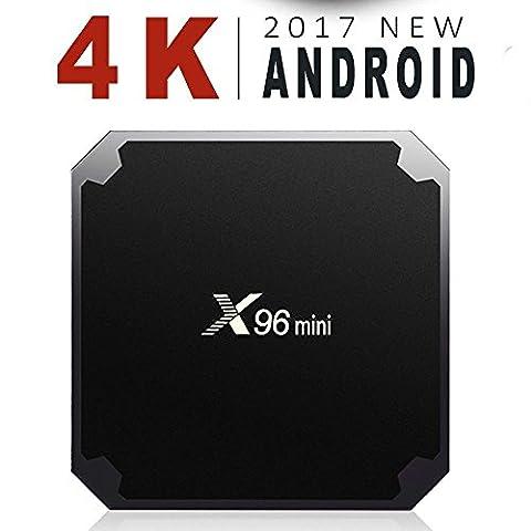 AAAHOMEEU Smart TV Box Android 7.1.2 X96mini 1G 8G Amlogic Quad Core 2.4GHz WiFi 4Kx2K HD Set Top Box mit USB 2.0 AV LAN TF Card Slot