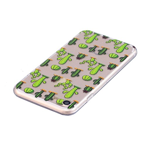 Cover per iPhone 7, OUJD iPhone 8 Custodia in silicone Trasparente TPU, caso crystal clear Shock-Absorption gel-back case protezione posteriore per cellulare Design per iPhone 7/iPhone 8- Cactus Cactus