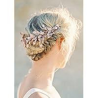 handmadejewelrylady boda novia imitación de cristal oro rosa diadema pelo  Vine para mujer noche fiesta accesorios dfe0bc42a43f
