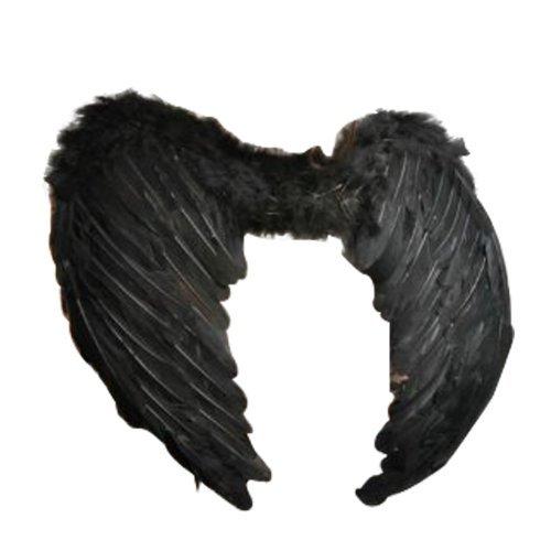 Flügel Kostüm Schwarze Fee - 43cm breit Engel Fee Feder Flügel in schwarz