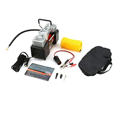 Funnyrunstore 12V 150PSI tragbarer Notfall-2-Zylinder-Auto-Luft-Kompressor Universelles,Schwarz Rot -