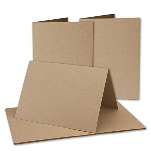 75x Vintage Kraftpapier Falt-Karten DIN A5-148 x 210 mm - sandbraun - Recycling - 350 g/m² blanko Bastel-Karten I Umwelt by Gustav NEUSER®