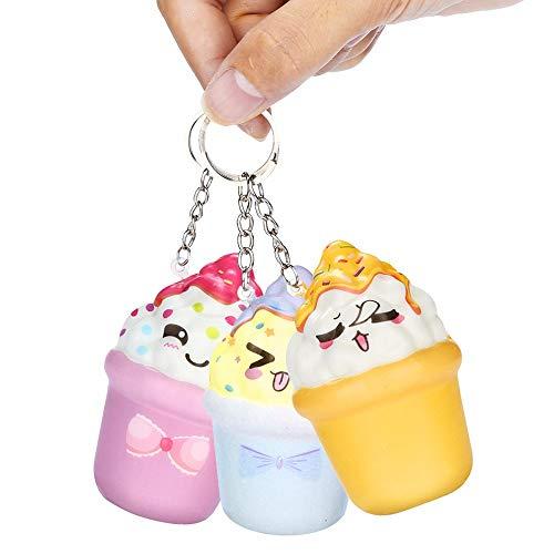 YWLINK Eiscreme Eiswaffel Spielzeug Karikatur SchlüSselanhäNger SchlüSselring Dekompression Spielzeug Creme Duftend Stress Relief Toys Toys Games for Adult and Kids (Zufällige Farbe)