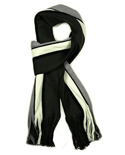 Écharpe de luxe pour homme Motif rayures à foulard en hiver Noir, Gris, bleu, blanc et bordeaux Charcoal / White / Grey