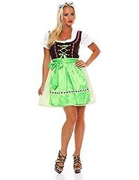 N4211 Fashion4Young Damen Dirndl 3 tlg.Trachtenkleid Kleid Bluse Schürze Oktoberfest