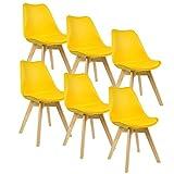 WOLTU BH29gb-6 Sedie per Sala da Pranzo Soggiorno con Schienale Plastica Similpelle Legno Giallo 6 Pezz