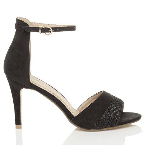 Tacco alto delle donne sandali caviglia polso cinturino contrasto bicolore Tacco 9.5 cm / Nero luccicare