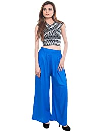 CAY® Royal Blue Color Solid Stylish Plazzo With Elastic Waist And Two Pockets Western Wear ( SIZE : FREE SIZE )