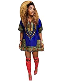 Culater Mujeres africana vestido de la impresión recta ocasional de la  rodilla por encima de los a77be87448ce