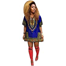 Culater Mujeres africana vestido de la impresión recta ocasional de la rodilla por encima de los mini vestidos