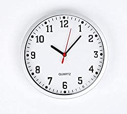 REAL ACCESSORIES® Large Silver Round Stylish Modern Wall Clock. Easy Readable Big Numbers. Ideal for Any Room in Home Dining Room Kitchen Office School Size : 23cm / 9