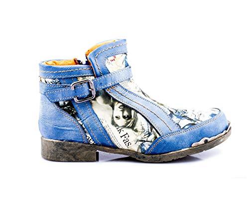 TMA 5191 Modische Damen Stiefeletten Boots Schuhe Leder blau alle Gr. 36-42 EUR 40
