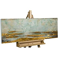 KunstLoft Acryl Gemälde 'Reales Refugium' 120x40cm | Original handgemalte Leinwand Bilder XXL | Abstrakt Gold Grau Blau | Wandbild Acrylbild Moderne Kunst Einteilig mit Rahmen
