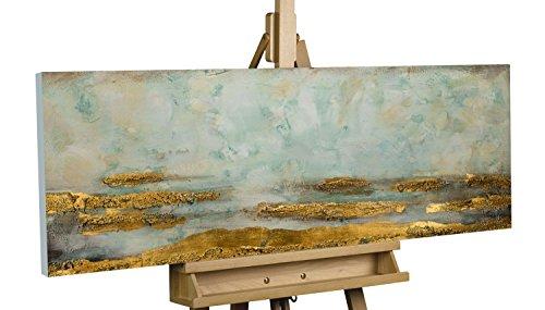 KunstLoft Acryl Gemälde 'Reales Refugium' 120x40cm   Original handgemalte Leinwand Bilder XXL   Abstrakt Gold Grau Blau   Wandbild Acrylbild Moderne Kunst Einteilig mit Rahmen (', Gemälde Original)