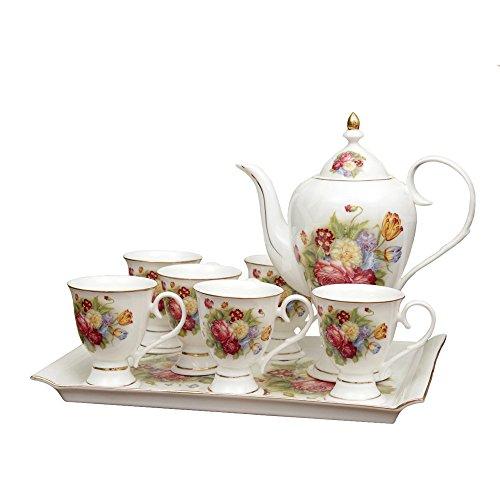 Bone China Altes Blumen Porzellan Kaffeeservice Teeservice Kaffeegeschirr Teekanne Tee Set 8-Teilig...